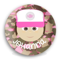 Personalized Girls Melamine Face Plate - Johanna