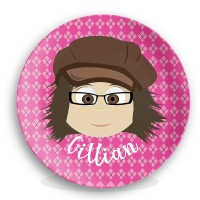 "Personalized Girls 10"" Melamine Face Plate - Gillian"