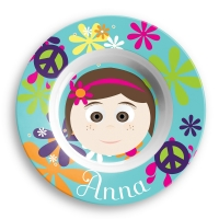 Personalized Girls Melamine Face Plate - Anna