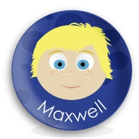 "Personalized Boys 10"" Melamine Face Plate - Maxwell"