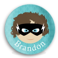 "Personalized Boys 10"" Melamine Face Plate - Brandon Superhero Plate"