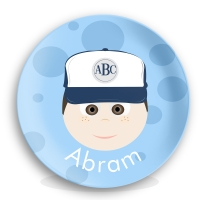 "Personalized Boys 10"" Melamine Face Plate - Baseball Abram"