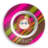Personalized Girls Melamine Faces Bowl-Britney Personalized Melamine Bowl