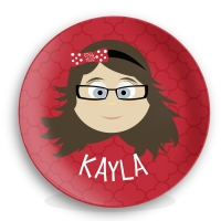 Personalized Girls Melamine Face Plate - Kayla