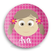 Personalized Girls Melamine Face Plate - Johannah