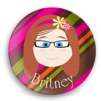Personalized Girls Melamine Face Plate - Britney