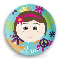 Personalized Girls Melamine Face Plate Hippie Chick
