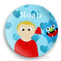 Little Me Boys Personalized Valentine Plate, Kids Valentine Plate