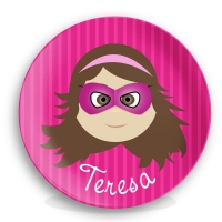 Personalized Girls Melamine Plate Superhero Teresa