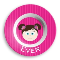 Personalized Girls Melamine Faces Bowl- Addie Personalized Melamine Bow