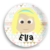Personalized Girls Melamine Plate - Tribal Background