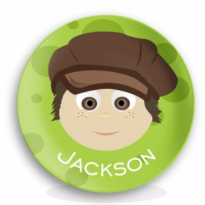 "Personalized Boys 10"" Melamine Face Plate - Jackson Newsboy Hat Plate"