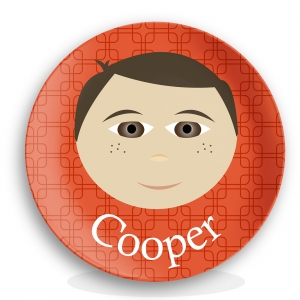 "Personalized Boys 10"" Melamine Face Plate - Cooper"