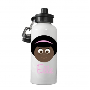 Personalized Girls Water Bottle-Afro Girl