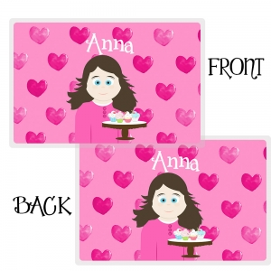 Little Me Girls Personalized Valentine Placemat-Personalized Place Mat