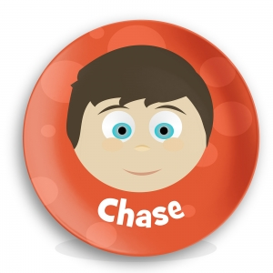 """Personalized Boys 10"""" Melamine Face Plate - Chase"""