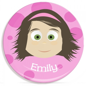 Little Me Girls Personalized MIcrowave Safe Plate Create Your Own Face Plate