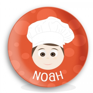 """Personalized Boys 10"""" Melamine Face Plate - Noah Chef Plate"""